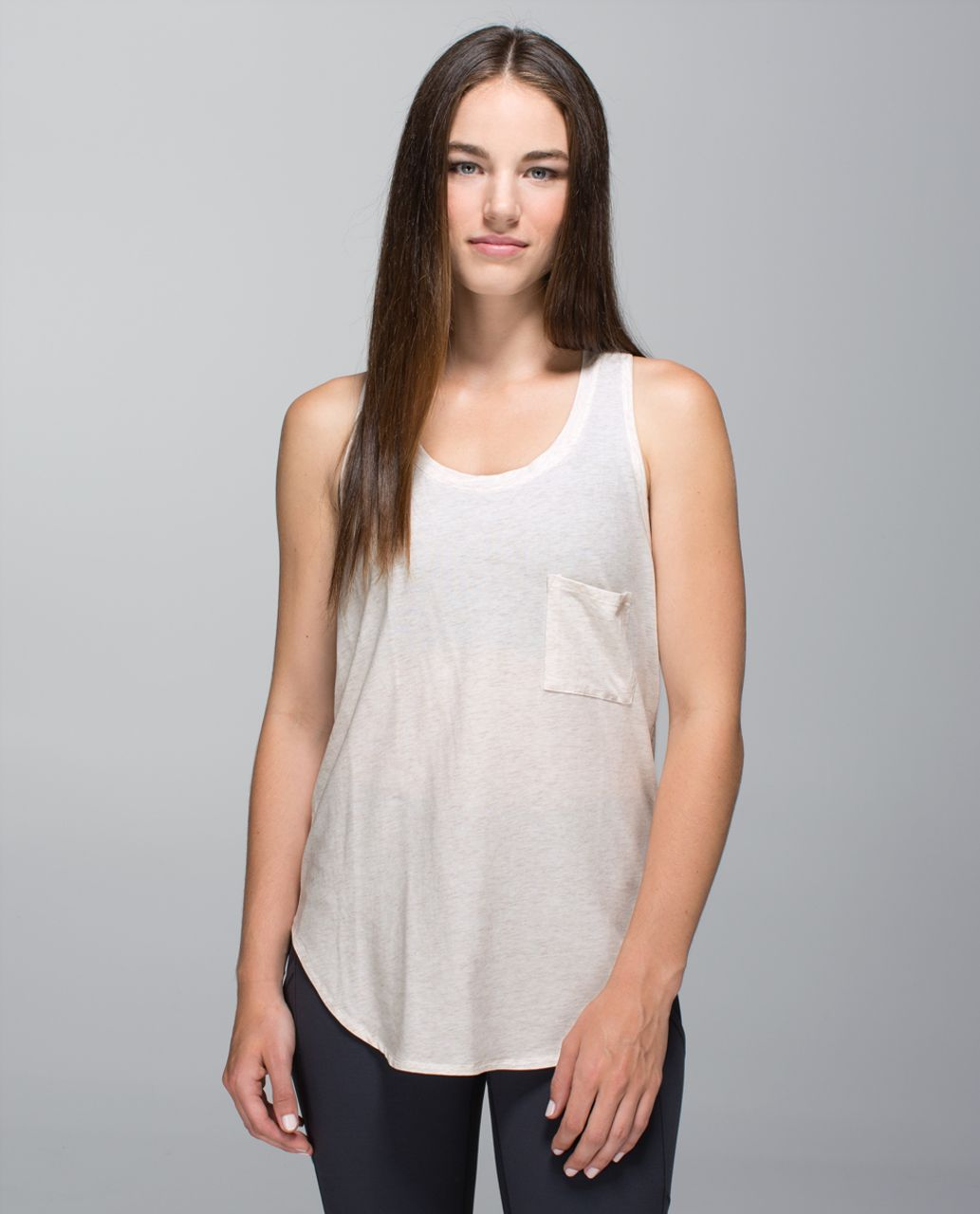 Lululemon Yogi Racerback - Heathered Angel White