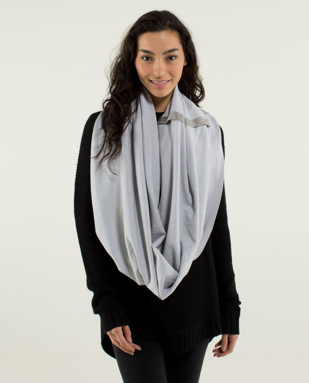 Lululemon Vinyasa Scarf *Rulu - Wee Stripe White Heathered Medium Grey / White