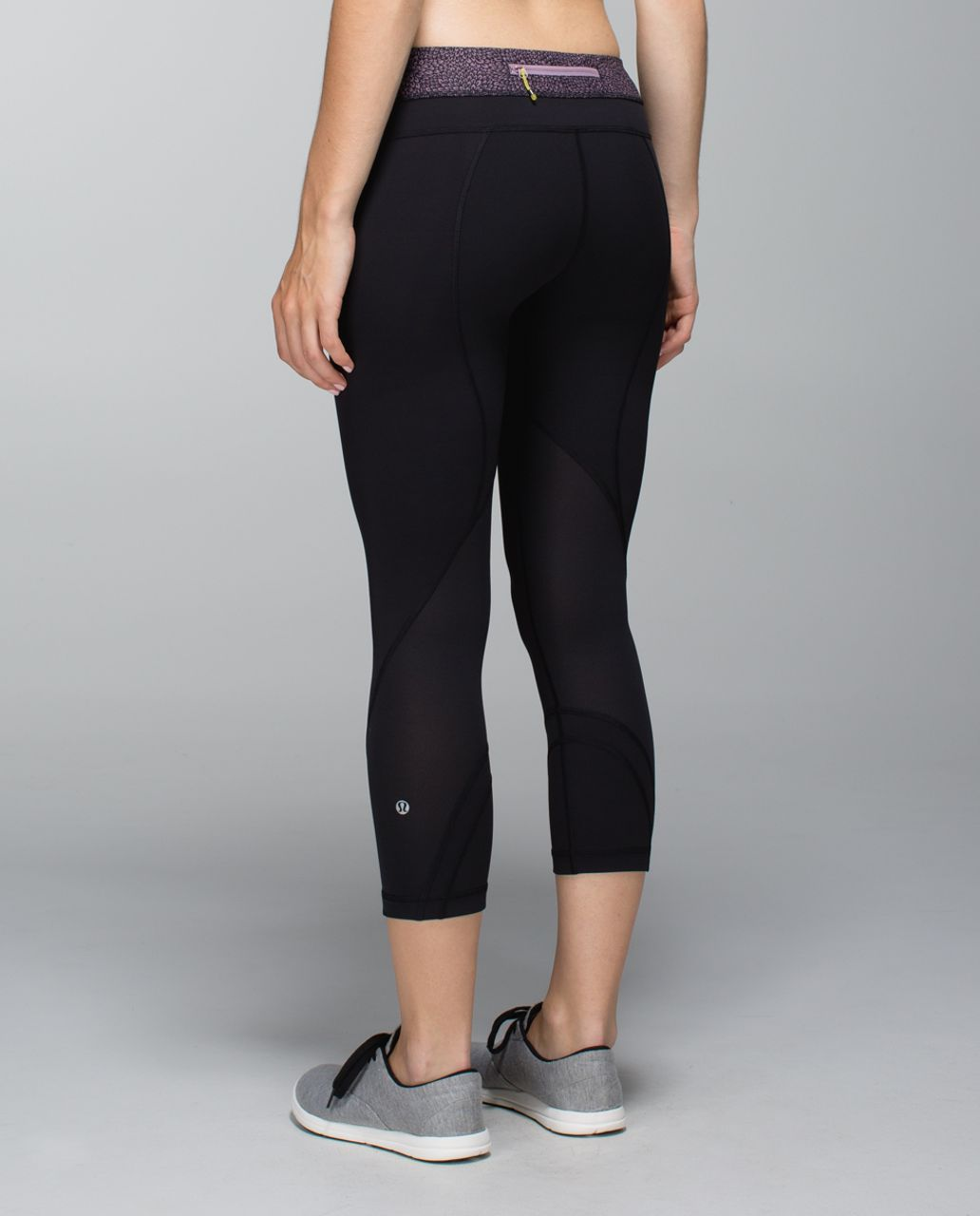 Lululemon Run:  Inspire Crop II - Black / Plush Petal Deep Coal Purple Fog