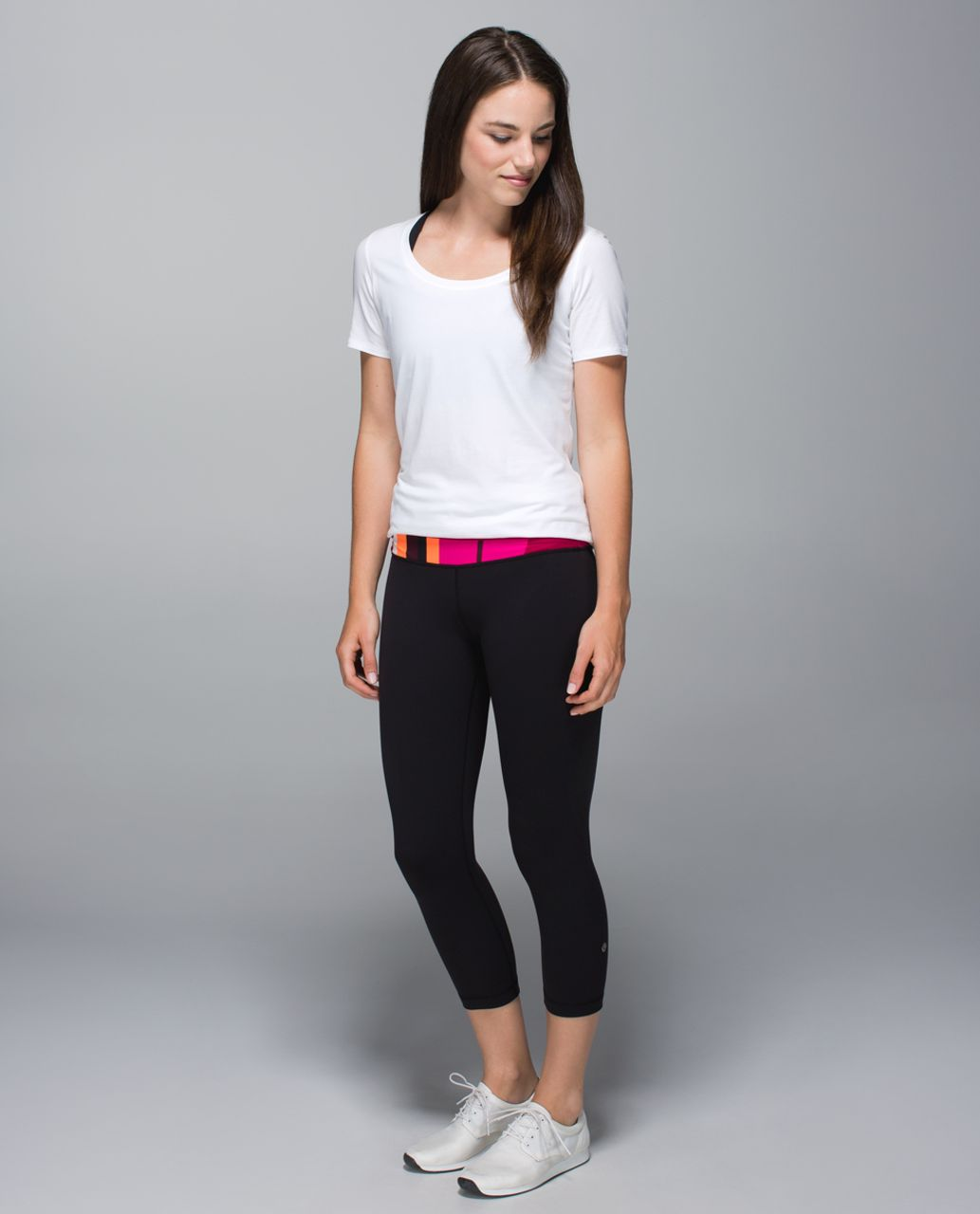 Lululemon Astro Wunder Under Crop II - Black / Bordeaux Drama / Bumble Berry
