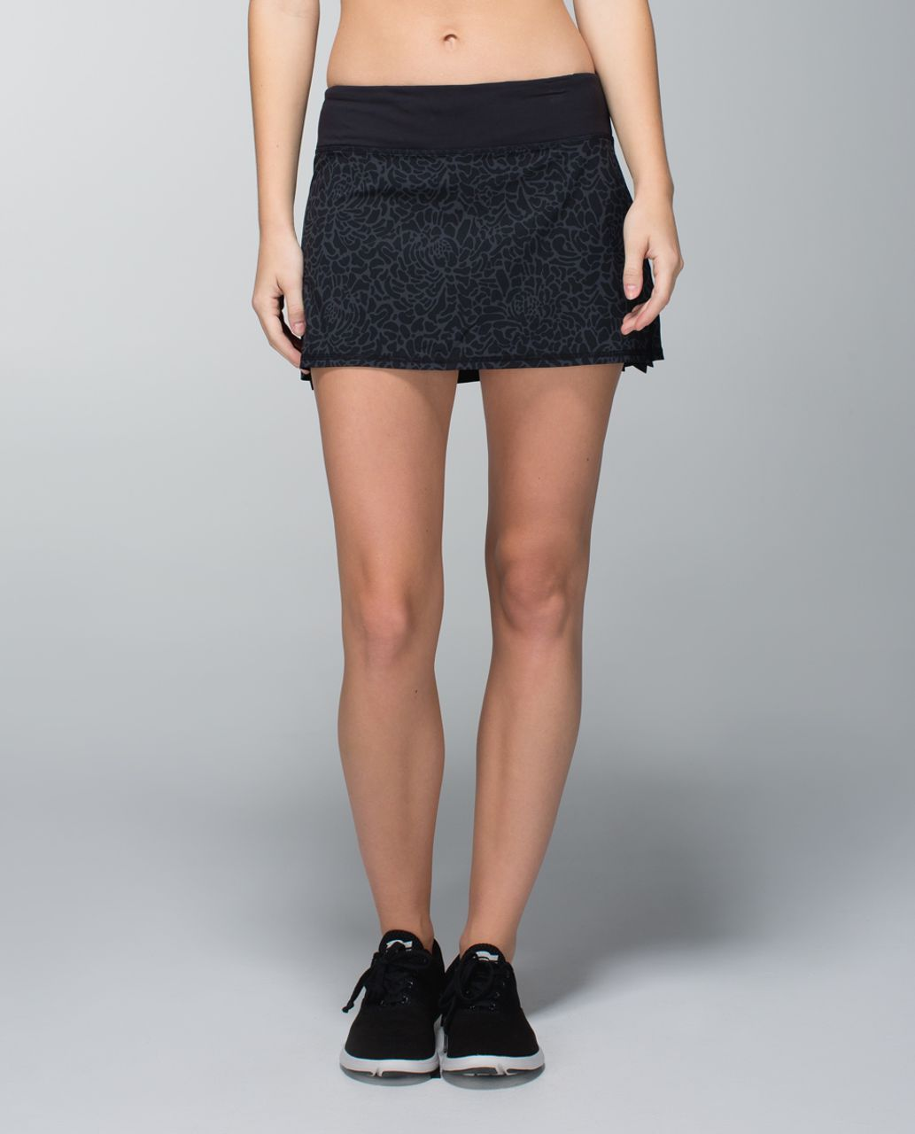 Lululemon Run:  Pace Setter Skirt *4-way Stretch (Regular) - Petal Camo Printed Black Deep Coal / Black