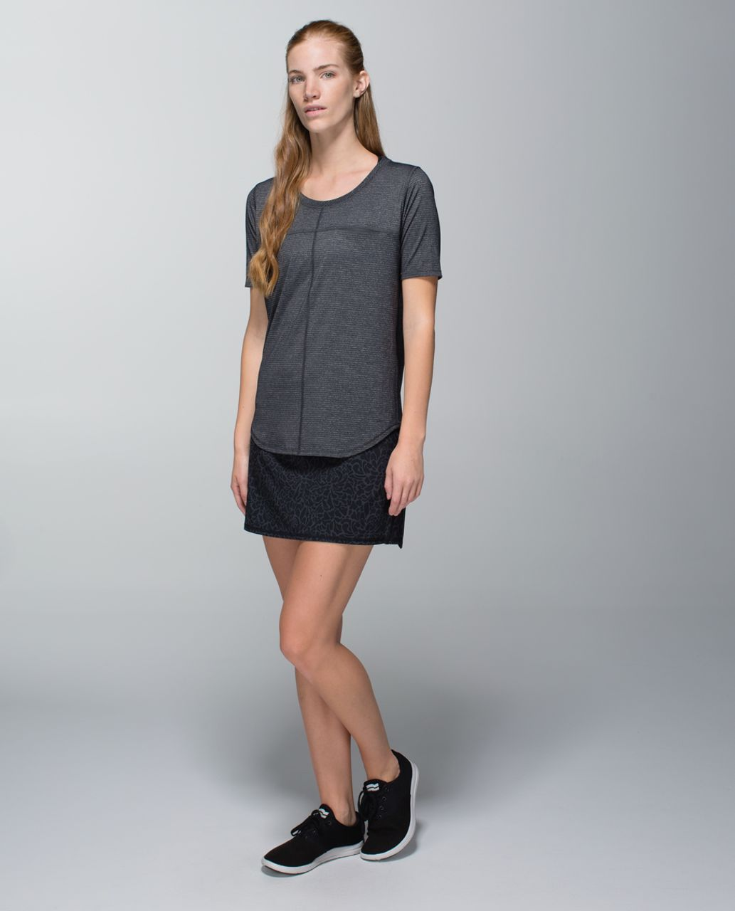 Lululemon Run:  Pace Setter Skirt *4-way Stretch (Tall) - Petal Camo Printed Black Deep Coal / Black