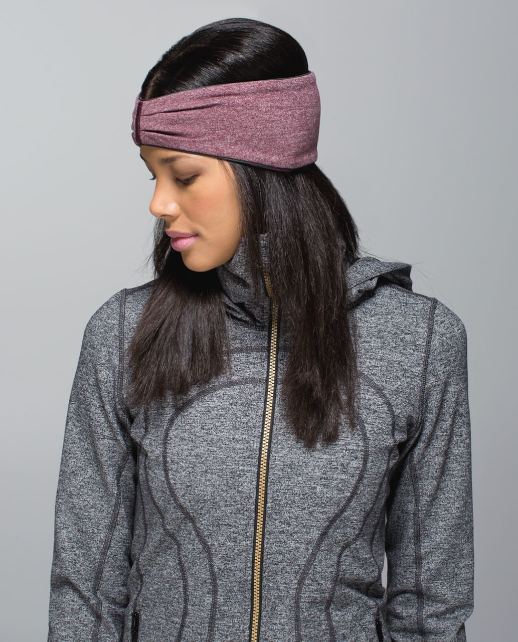 Lululemon Run With Me Ear Warmer - Hyper Stripe Heathered Bordeaux Drama Bumble Berry / Heathered Bordeaux Drama