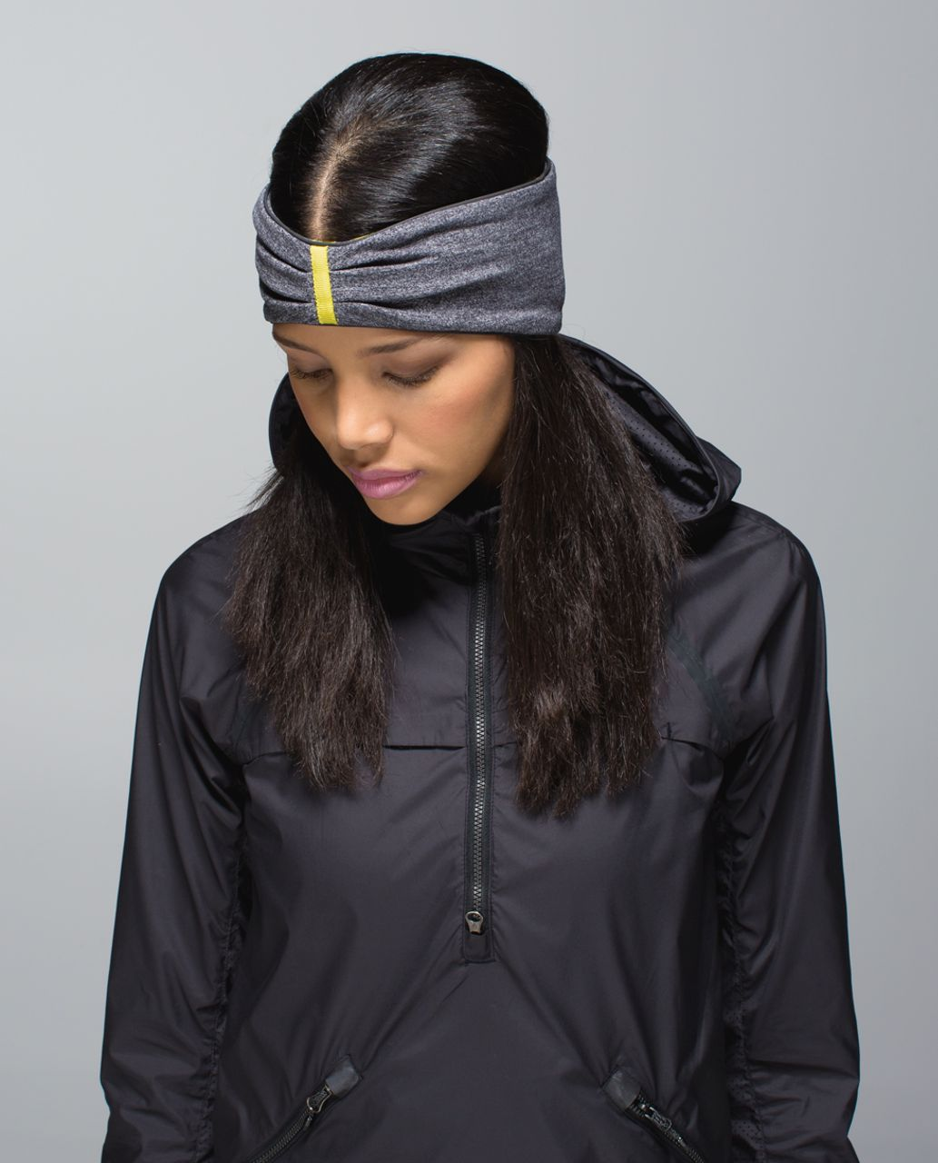 Lululemon Run With Me Ear Warmer - Hyper Stripe Heathered Black Almost Pear / Heathered Black