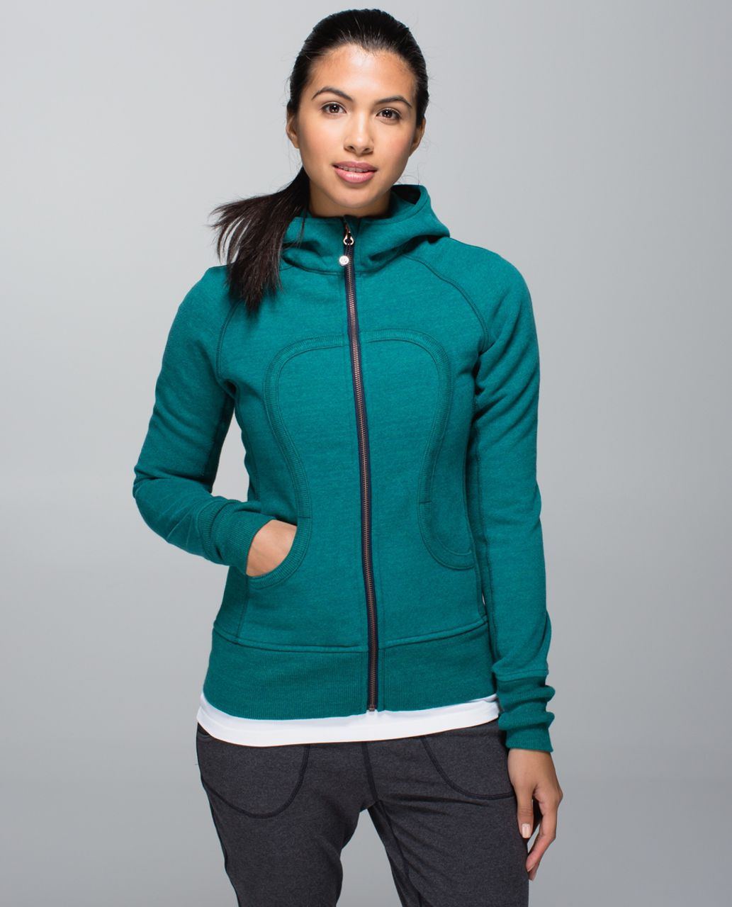 Lululemon Scuba Hoodie II - Heathered Green Teal / Inkwell