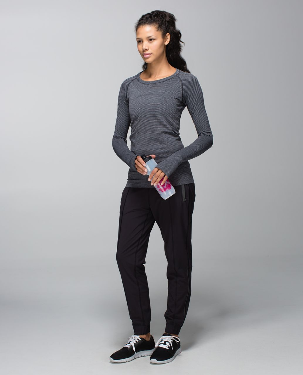 Lululemon Run:  Swiftly Tech Long Sleeve Crew - Tonka Stripe Heathered Black Black