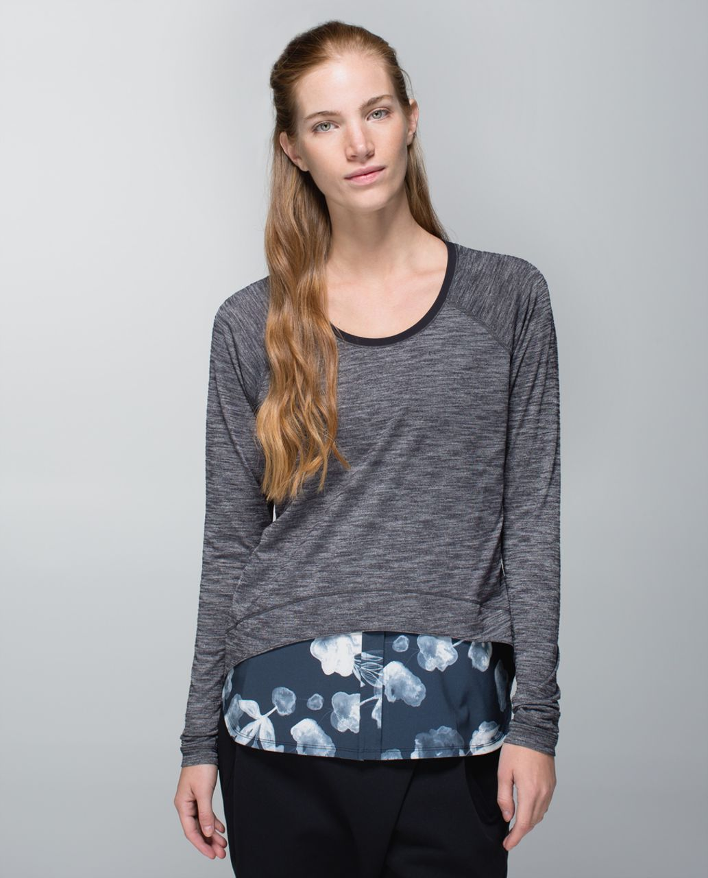 Lululemon Layered Long Sleeve Tee - Heathered Black / Inky Floral Black Ghost / Black