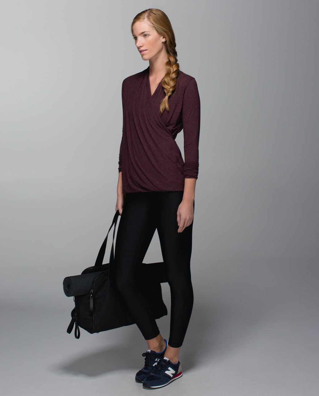 Lululemon Radiant Long Sleeve - Heathered Bordeaux Drama