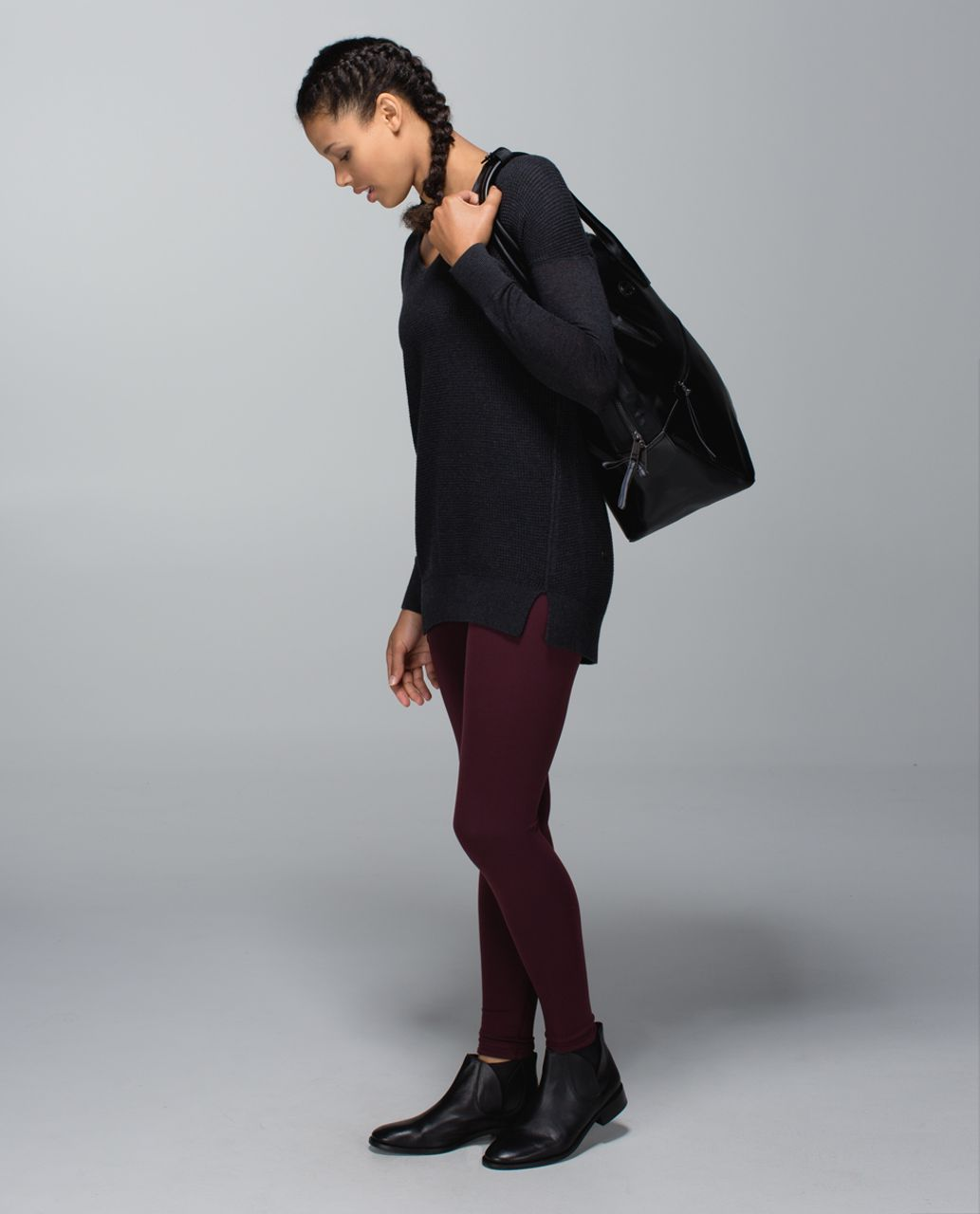 Lululemon Wunder Under Pant (Reversible) - Bordeaux Drama / Black