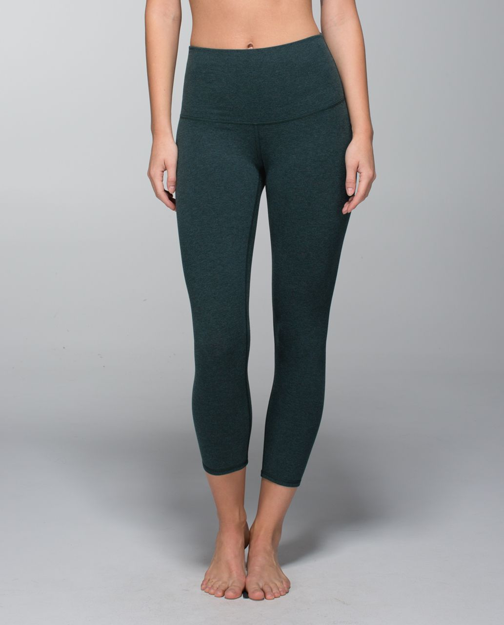 Lululemon Wunder Under Crop II *Cotton (Roll Down) - Heathered Fuel Green