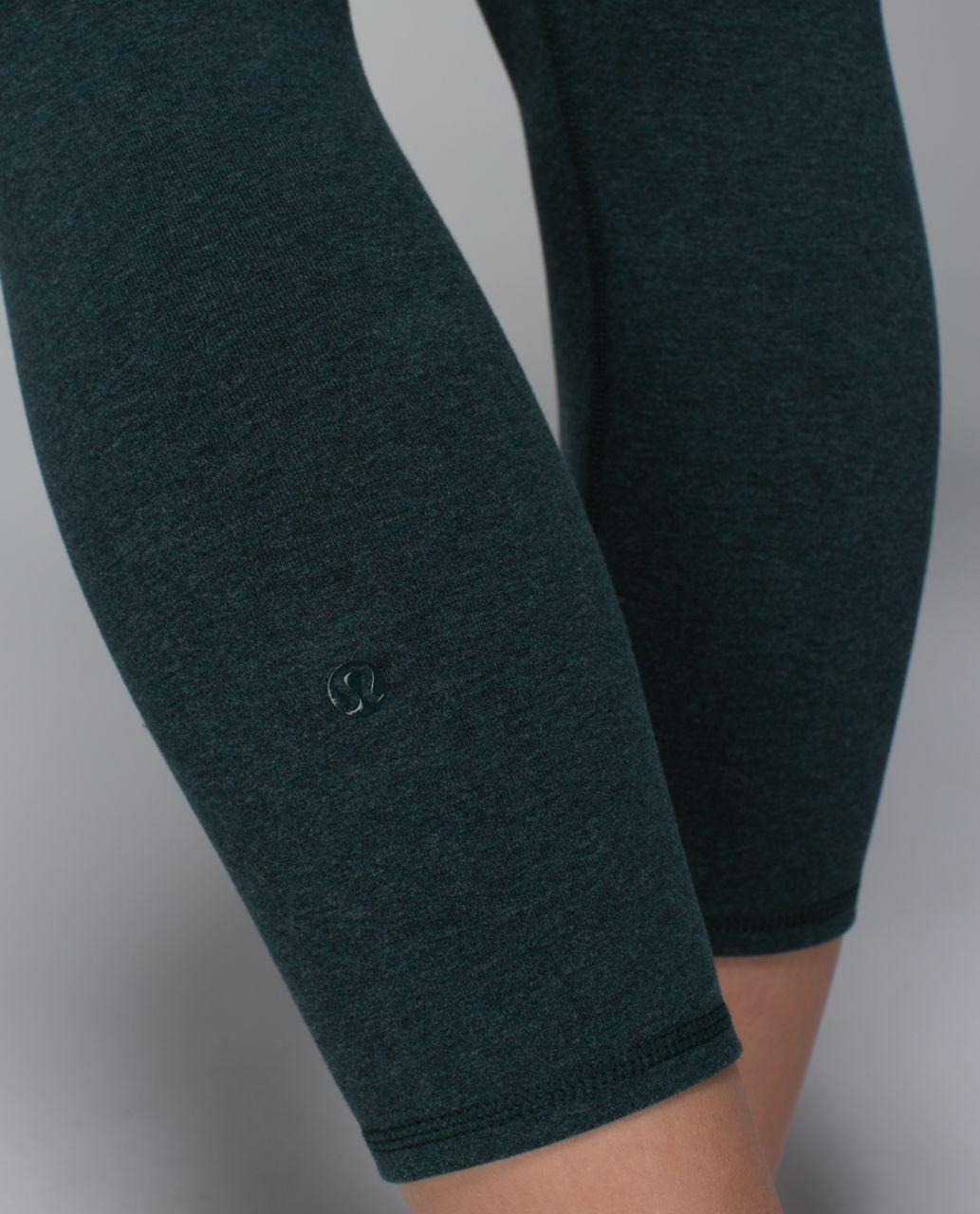 Lululemon Wunder Under Crop II *Cotton (Roll Down) - Heathered Fuel Green