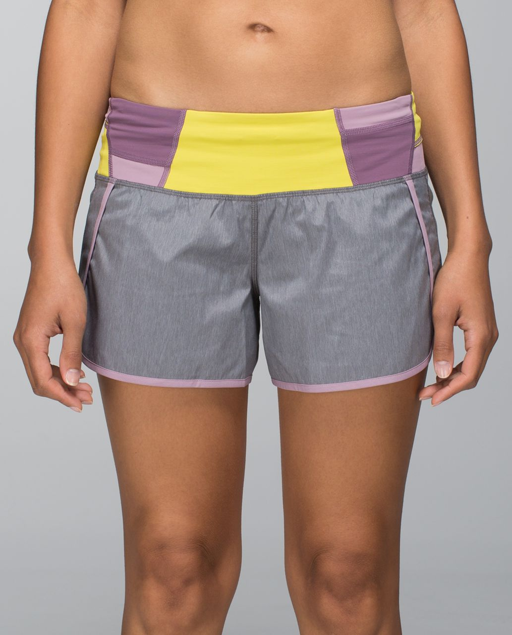 Lululemon Run Times Short *2-way Stretch - Heathered Slate / Mauvelous / Fa14 Quilt 27
