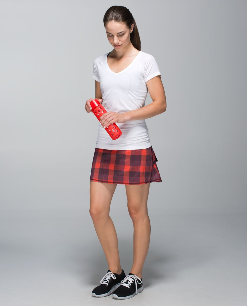 Lululemon Run:  Pace Setter Skirt *2-way Stretch (Tall) - Yama Check Heathered Flaming Tomato / Bordeaux Drama