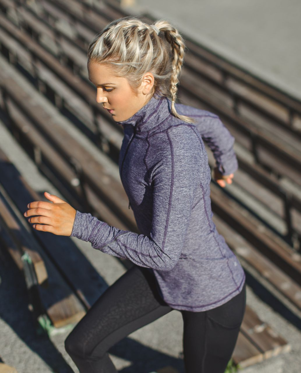 Lululemon Race Your Pace 1/2 Zip - Heathered Black Grape