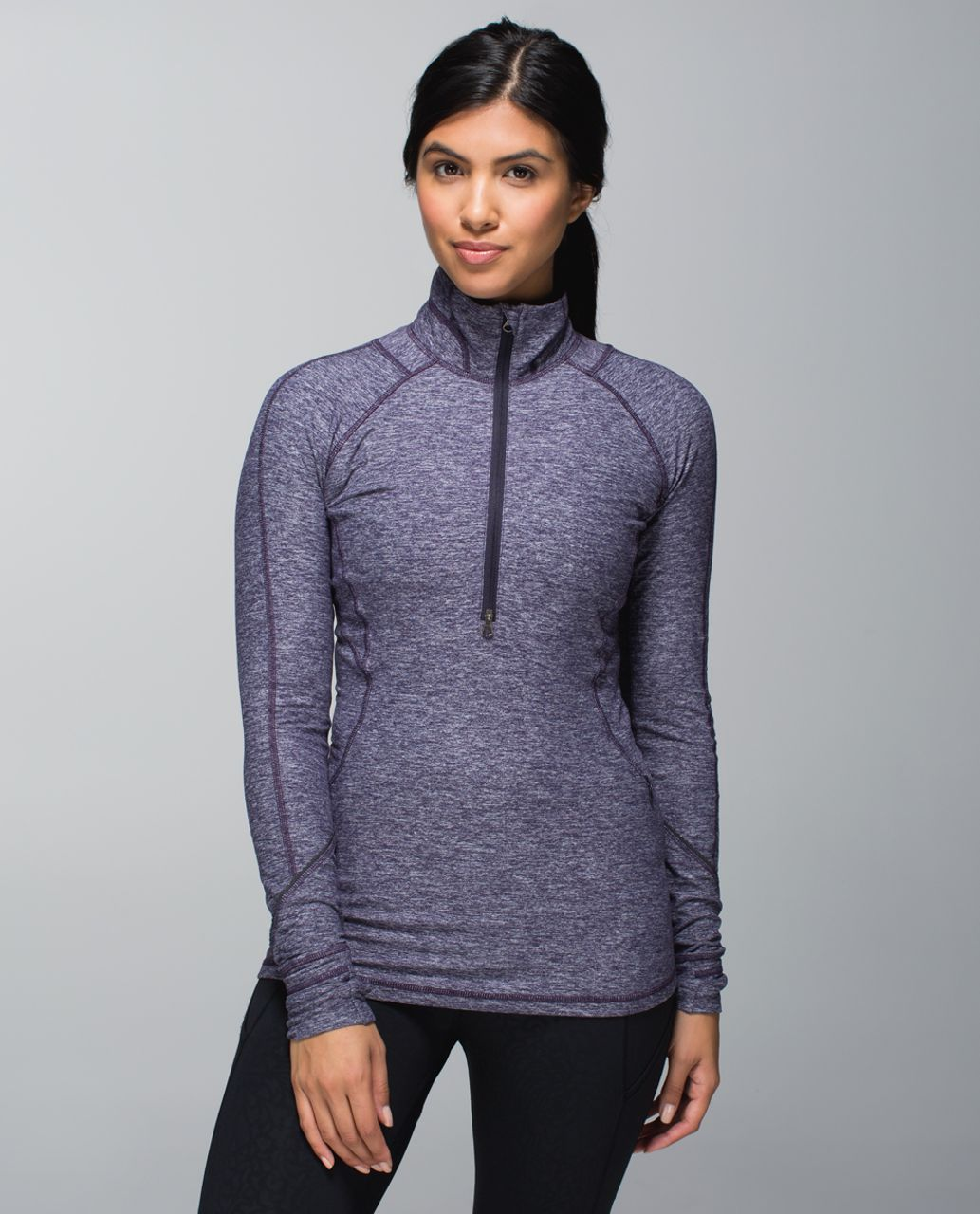 Lululemon Race Your Pace 1 2 Zip Heathered Black Grape