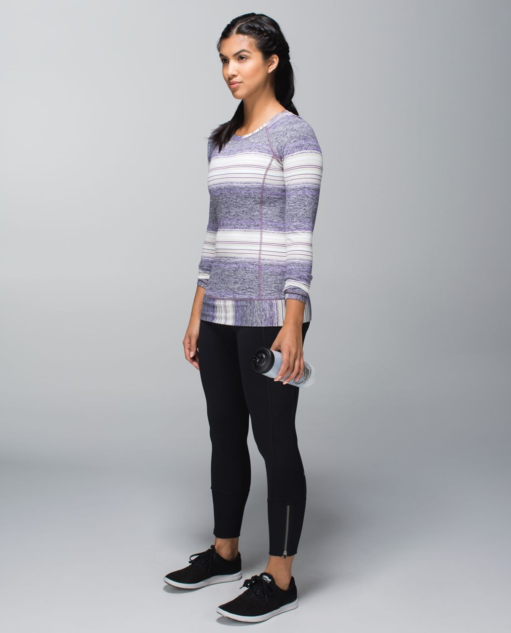 Lululemon Race Your Pace Long Sleeve - Osaka Stripe Heathered Black Grape