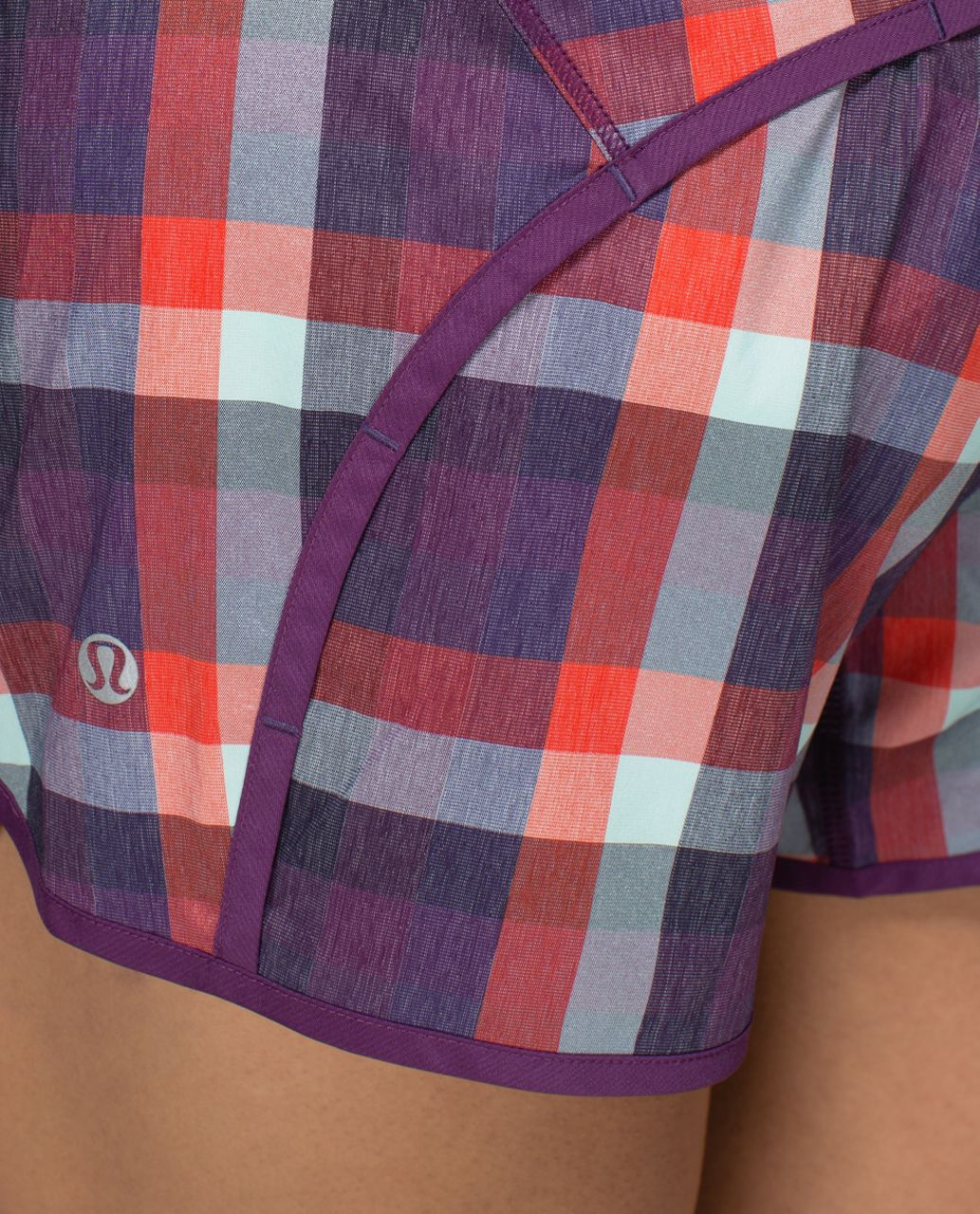 Lululemon Run Times Short *2-way Stretch - Wheezy Check Multi Heathered Berry Yum Yum / Berry Yum Yum / Toothpaste