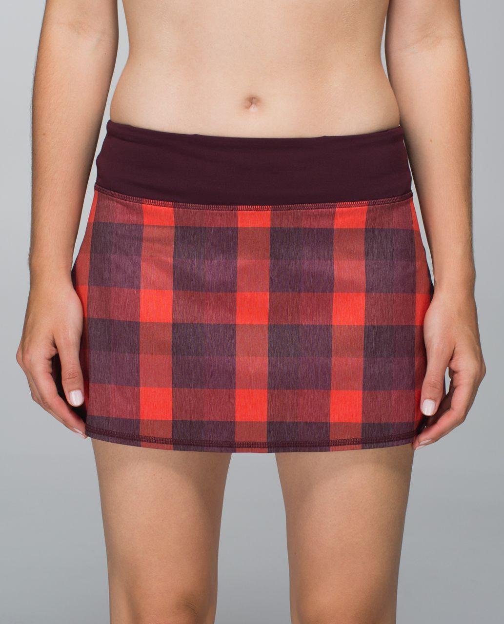 Lululemon Run:  Pace Setter Skirt *2-way Stretch (Regular) - Yama Check Heathered Flaming Tomato / Bordeaux Drama