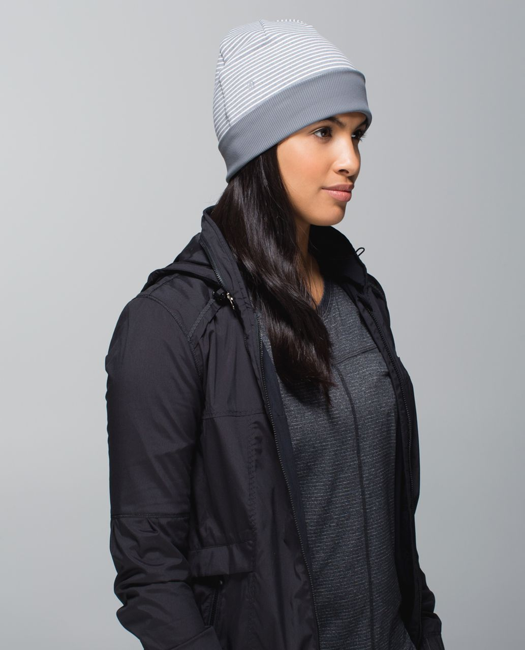 Lululemon Run With Me Toque - Hyper Stripe Heathered Slate Ghost / Heathered Slate