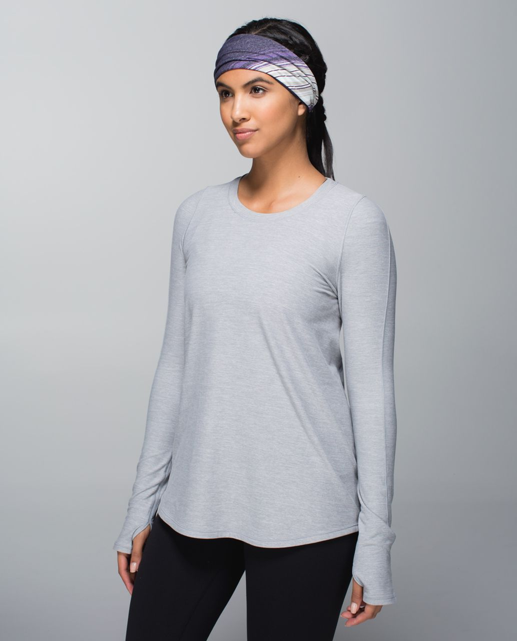 Lululemon Bang Buster Headband *Reversible - Osaka Stripe Heathered Black Grape / Black Grape