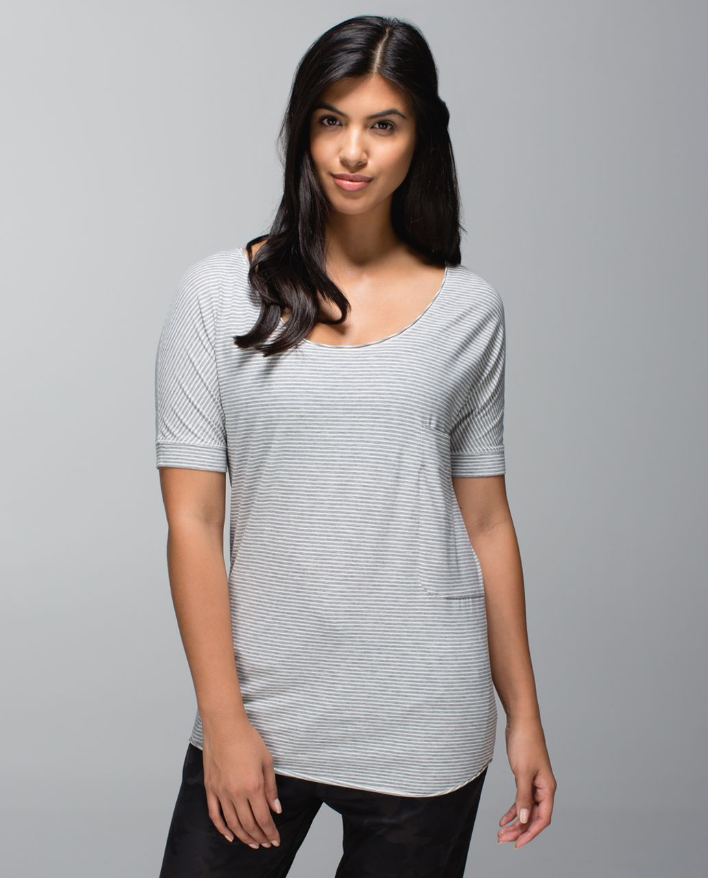 Lululemon Ravi Tee - Hyper Stripe Heathered Medium Grey Ghost