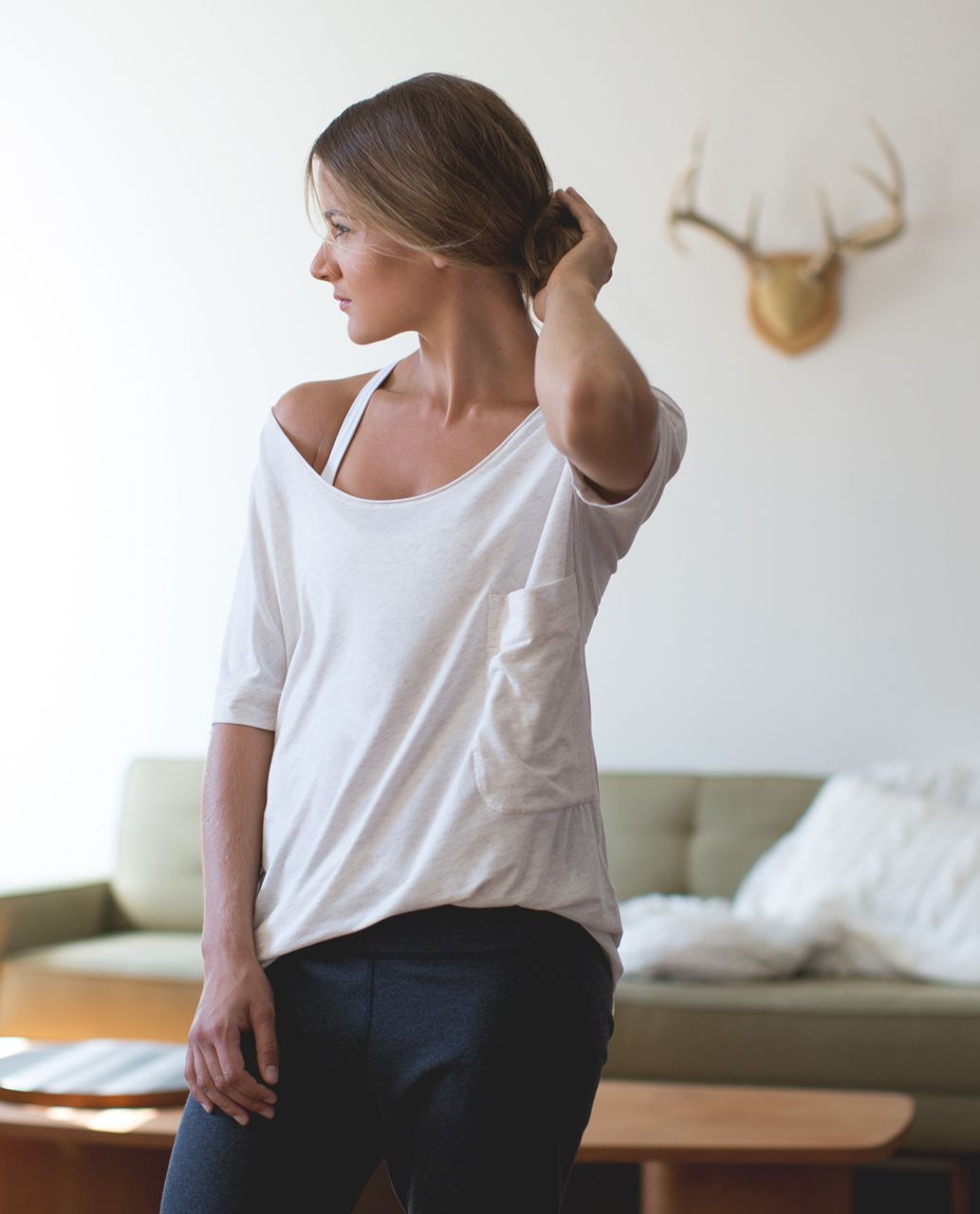 Lululemon Ravi Tee - Heathered Angel White