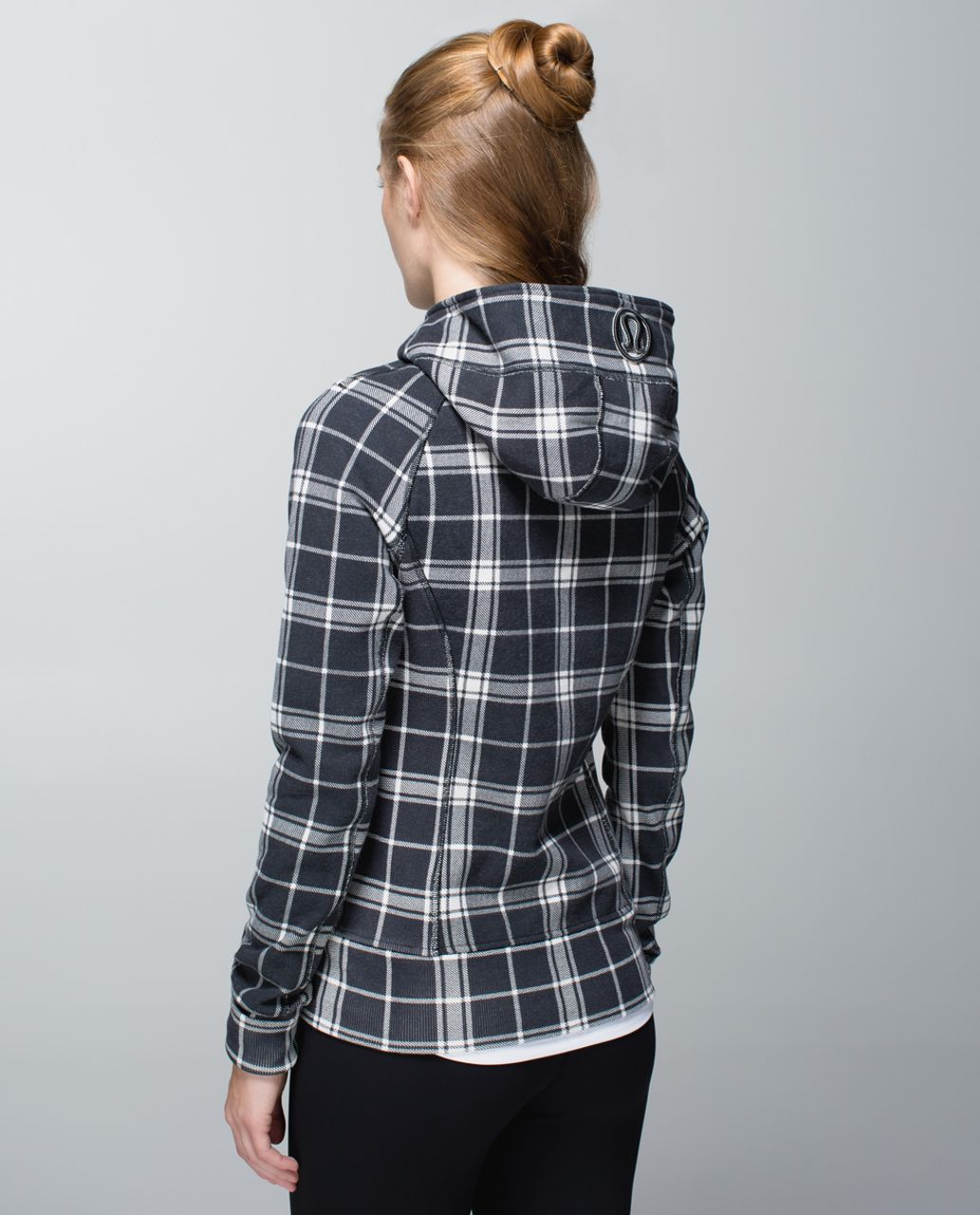 Lululemon Scuba Hoodie II - Varsity Plaid Printed Heathered Angel White Deep Coal / Ghost / Heathered Speckled Black