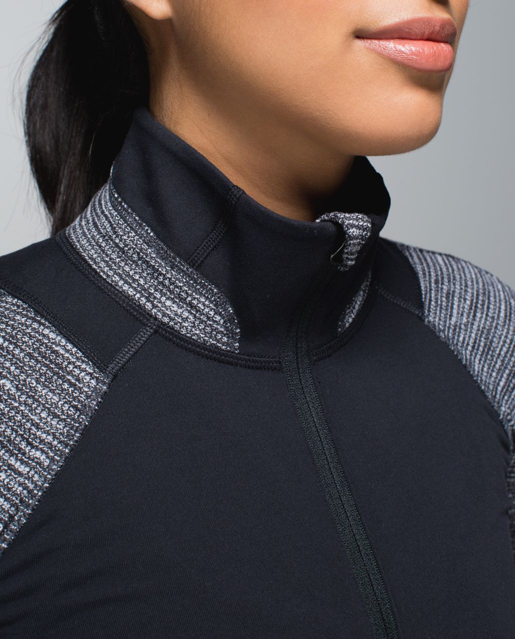 Lululemon Race Your Pace 1/2 Zip - Black / Coco Pique Black