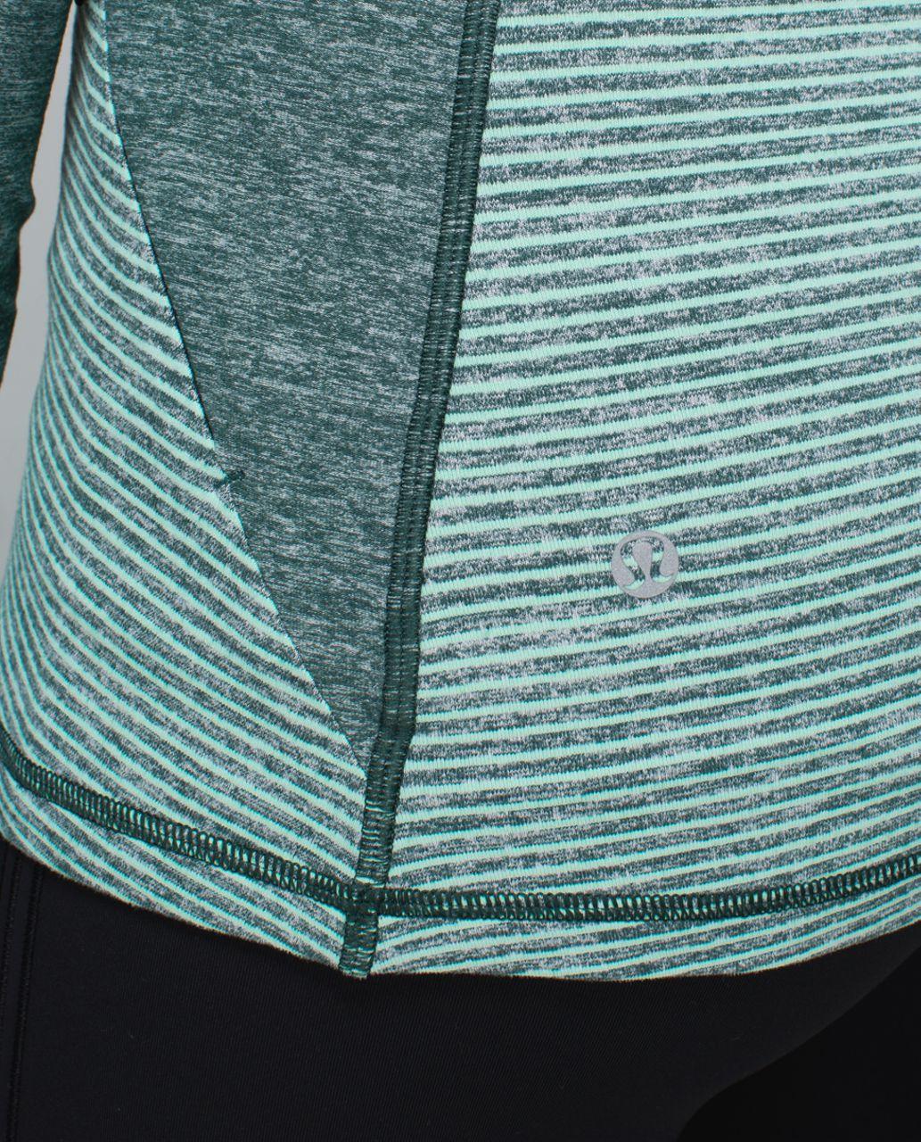 Lululemon Race Your Pace 1/2 Zip - Hyper Stripe Heathered Fuel Green Toothpaste / Heathered Fuel Green