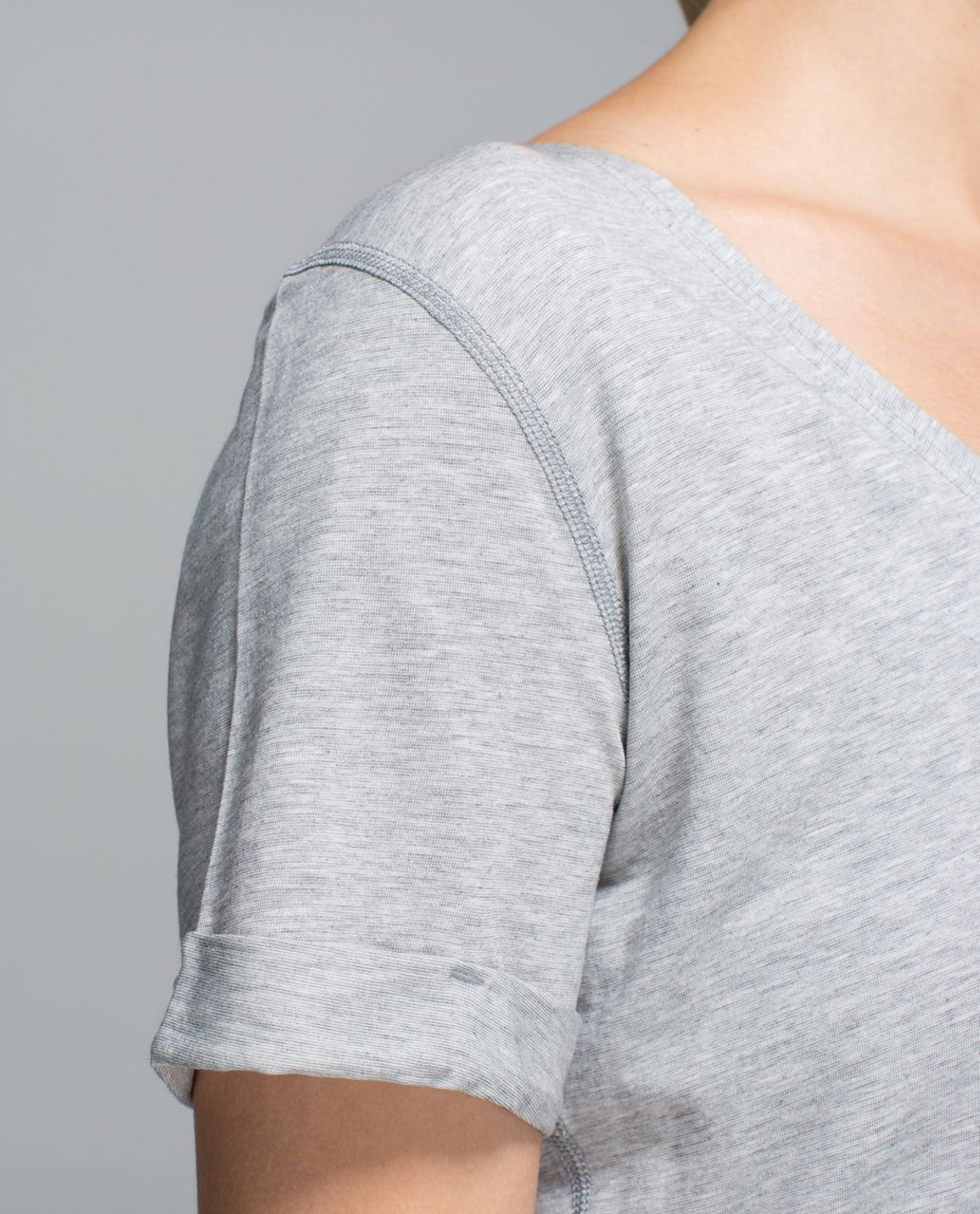 Lululemon Love Tee - Mini Stripe Heathered Medium Grey Angel Wing