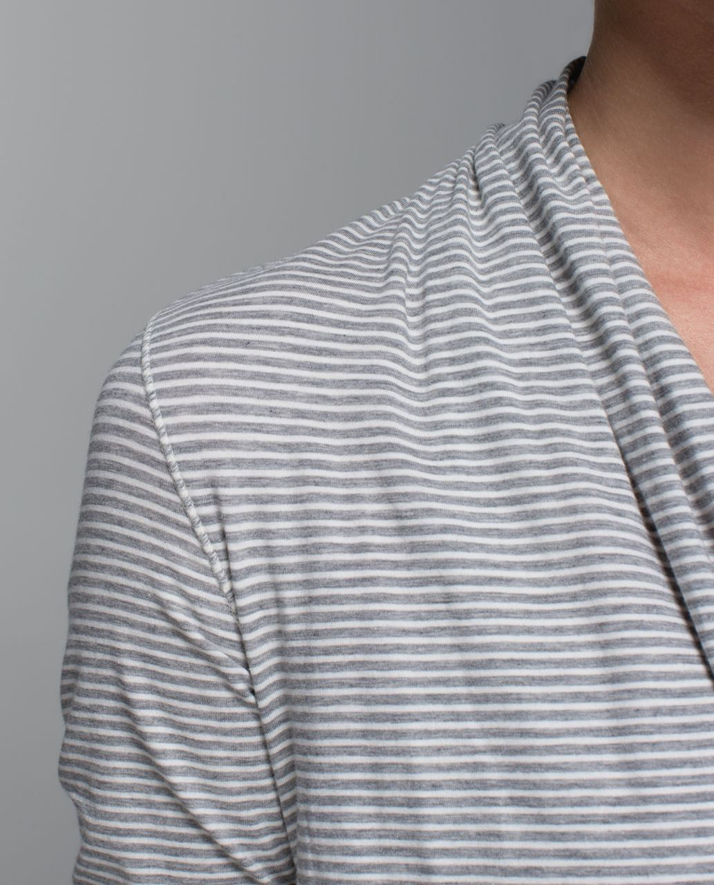 Lululemon Radiant Long Sleeve - Hyper Stripe Heathered Medium Grey Ghost