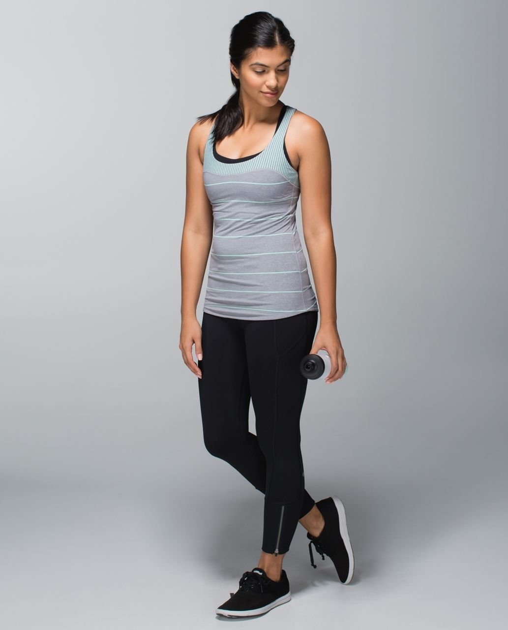 Lululemon Run:  First Base Tank - Cliff Hanger Stripe Heathered Slate Toothpaste Horizontal / Hyper Stripe Heathered Slate Toothpaste