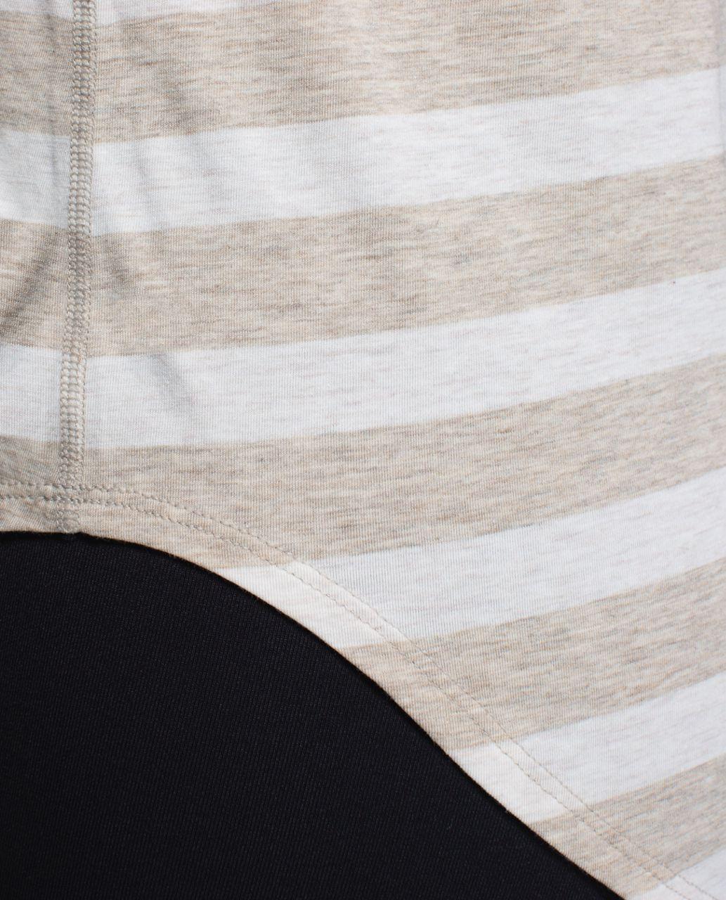 Lululemon Yogi Racerback - Marshmallow Stripe Heathered Sand Dune Black