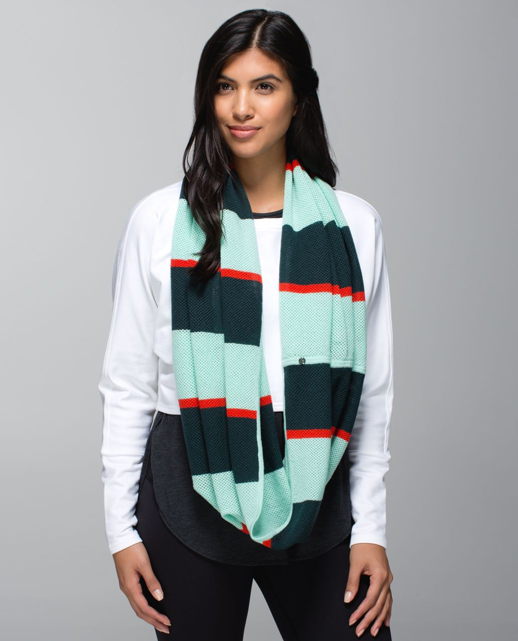 Lululemon Heart Opener Scarf *Wool - Fuel Green / Toothpaste / Flaming Tomato