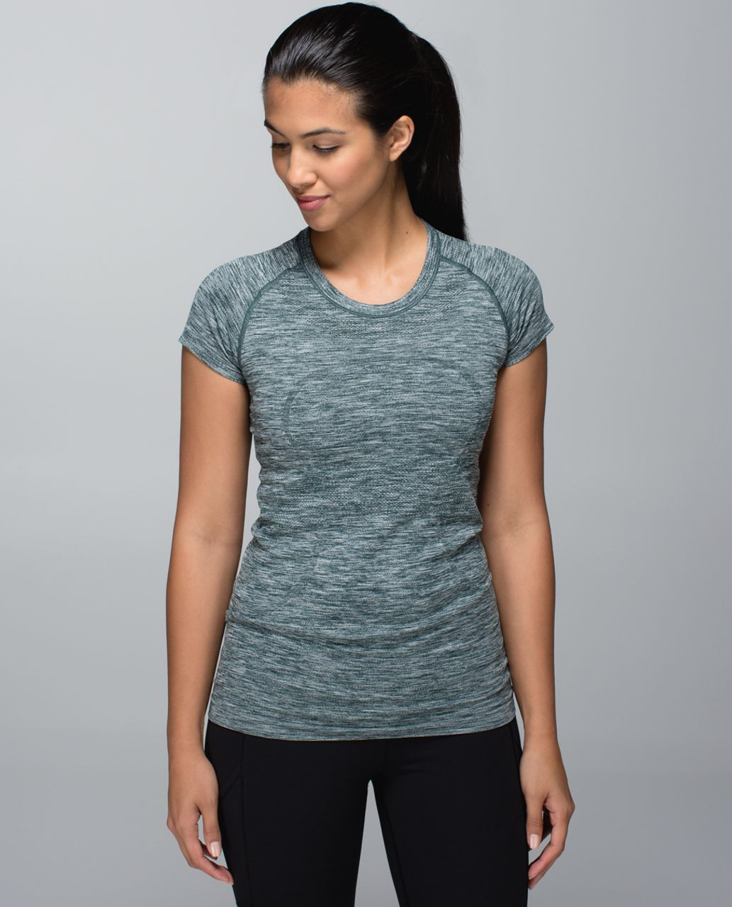 Lululemon Run:  Swiftly Tech Short Sleeve Crew - Space Dye Heathered Fuel Green