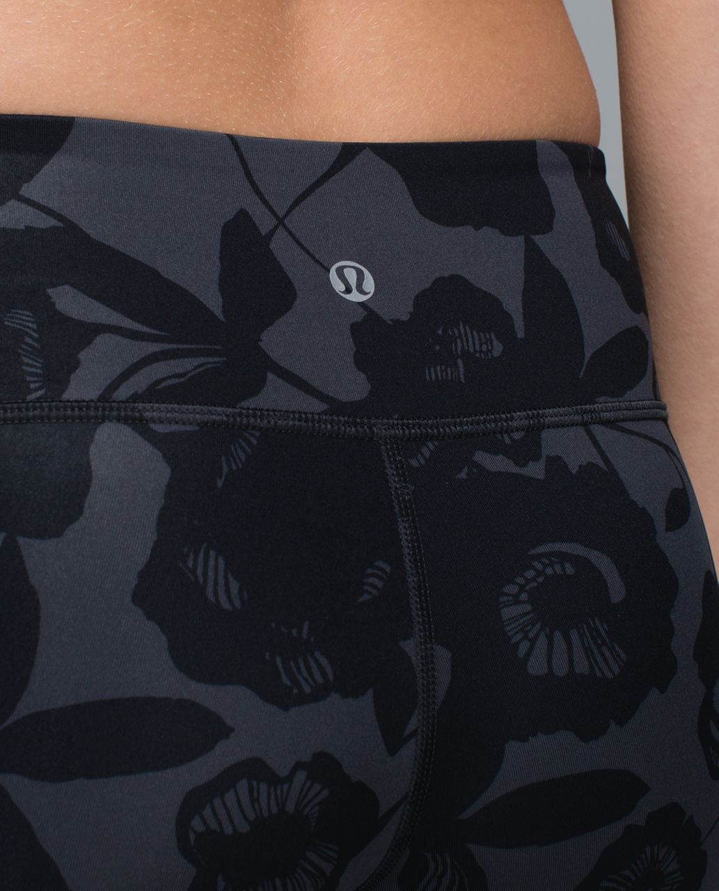 Lululemon Wunder Under Crop II *Full-On Luxtreme - Flat Inky Floral Printed Black Deep Coal / Black