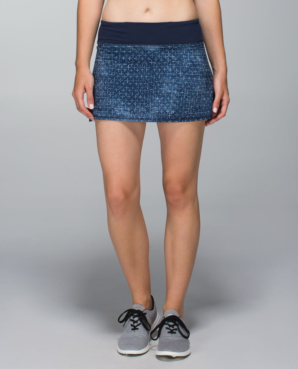 Lululemon Run:  Pace Setter Skirt *4-way Stretch (Regular) - Exploded Sashiko Cross Inkwell Ghost / Inkwell