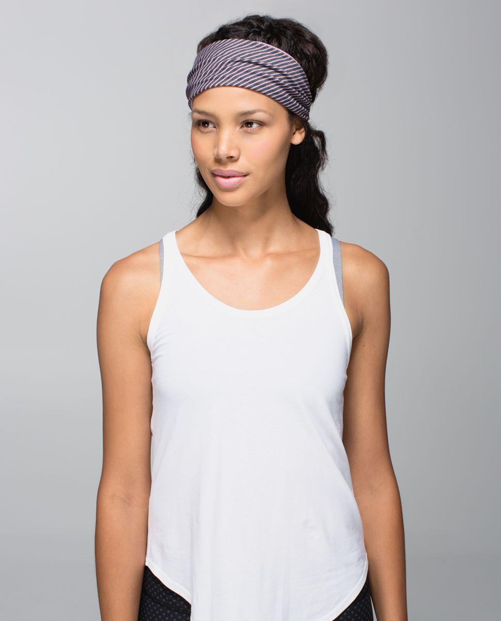 Lululemon Bang Buster Headband *Reversible - Hyper Stripe Mauvelous Heathered Black / Mauvelous