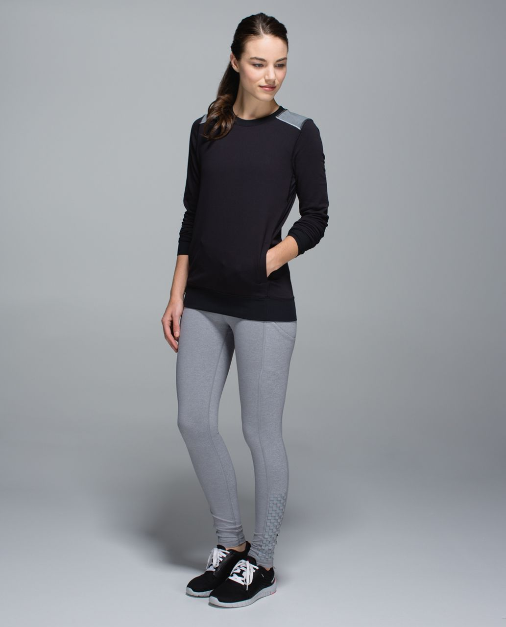 Lululemon In A Flash Long Sleeve - Hyper Stripe Black Soot / Black / Silver