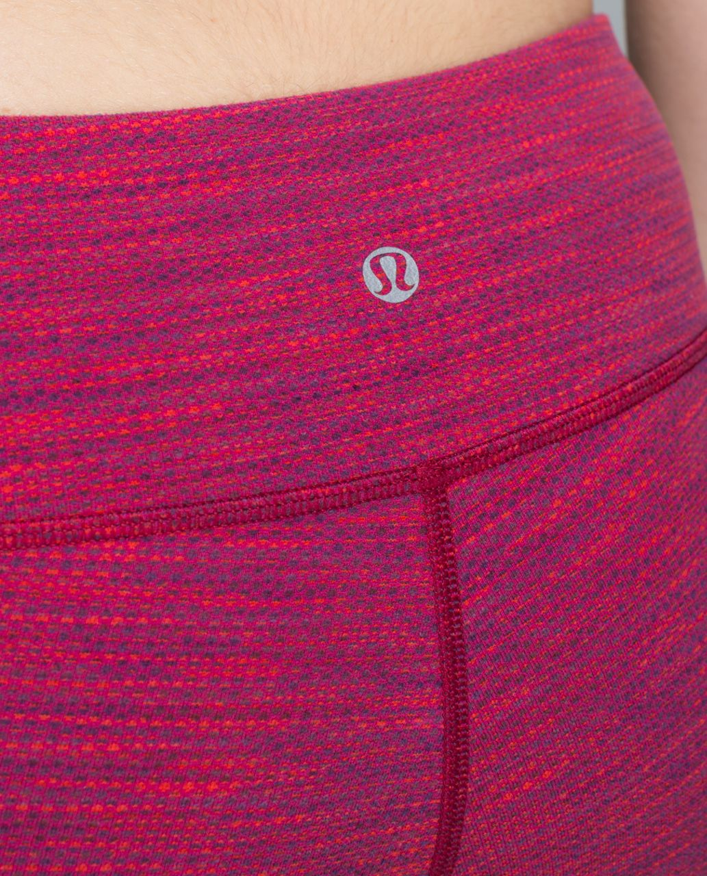 Lululemon Wunder Under Crop II - Diamond Jacquard Space Dye Bumble Berry Flaming Tomato