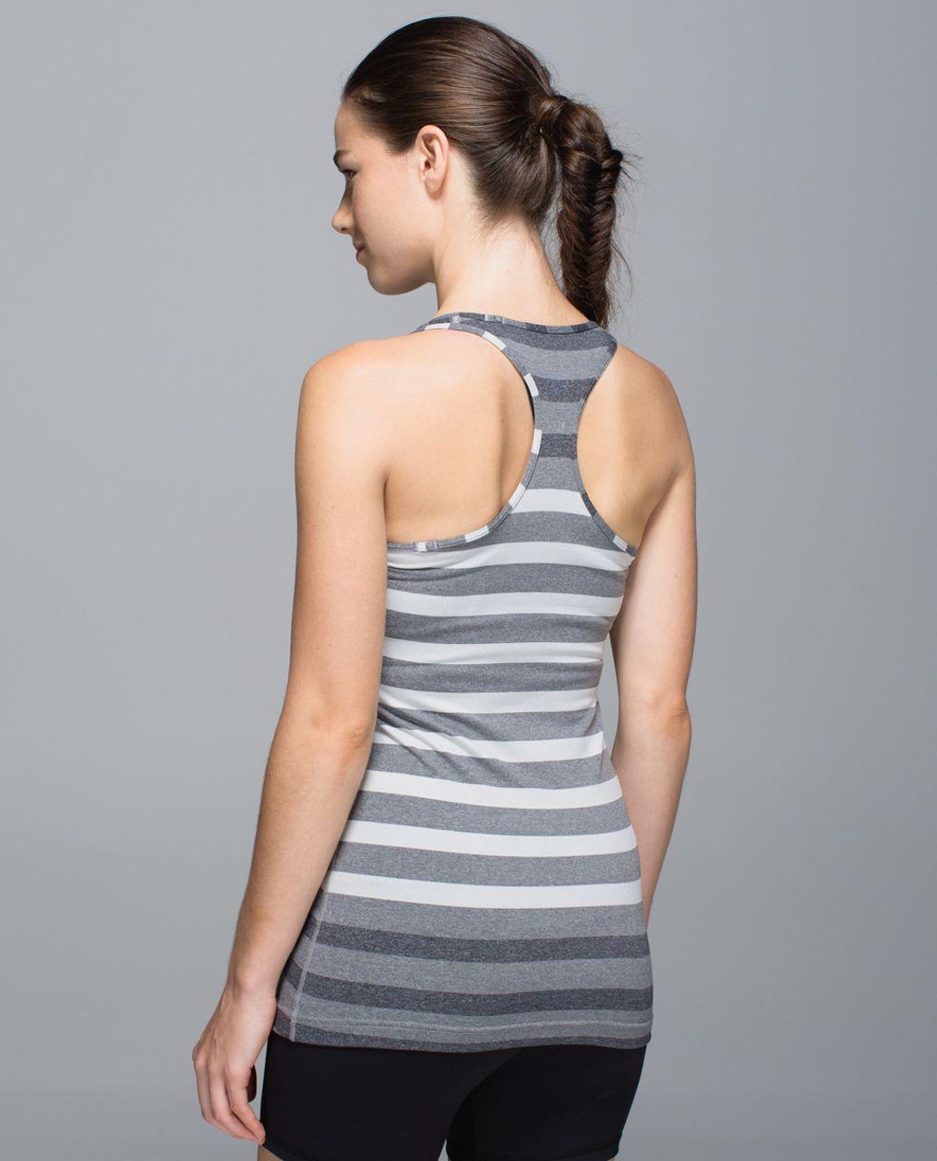 Lululemon Cool Racerback - Marshmallow Stripe Heathered Sand Dune Black / Ghost
