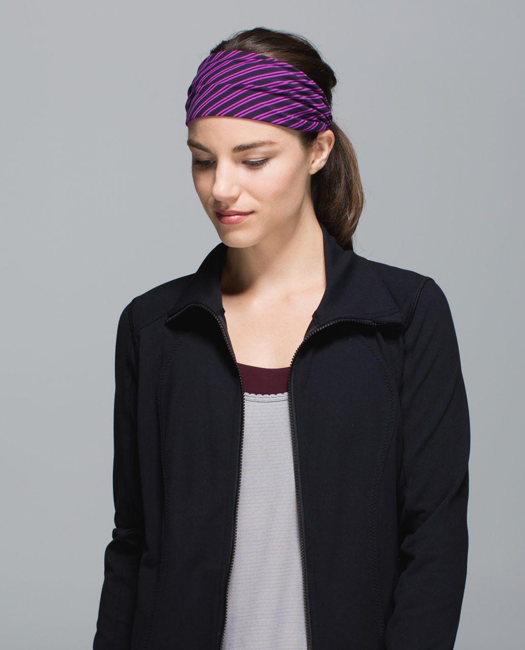 Lululemon Bang Buster Headband *Reversible - Double Trouble Stripe Ultra Violet Black Grape