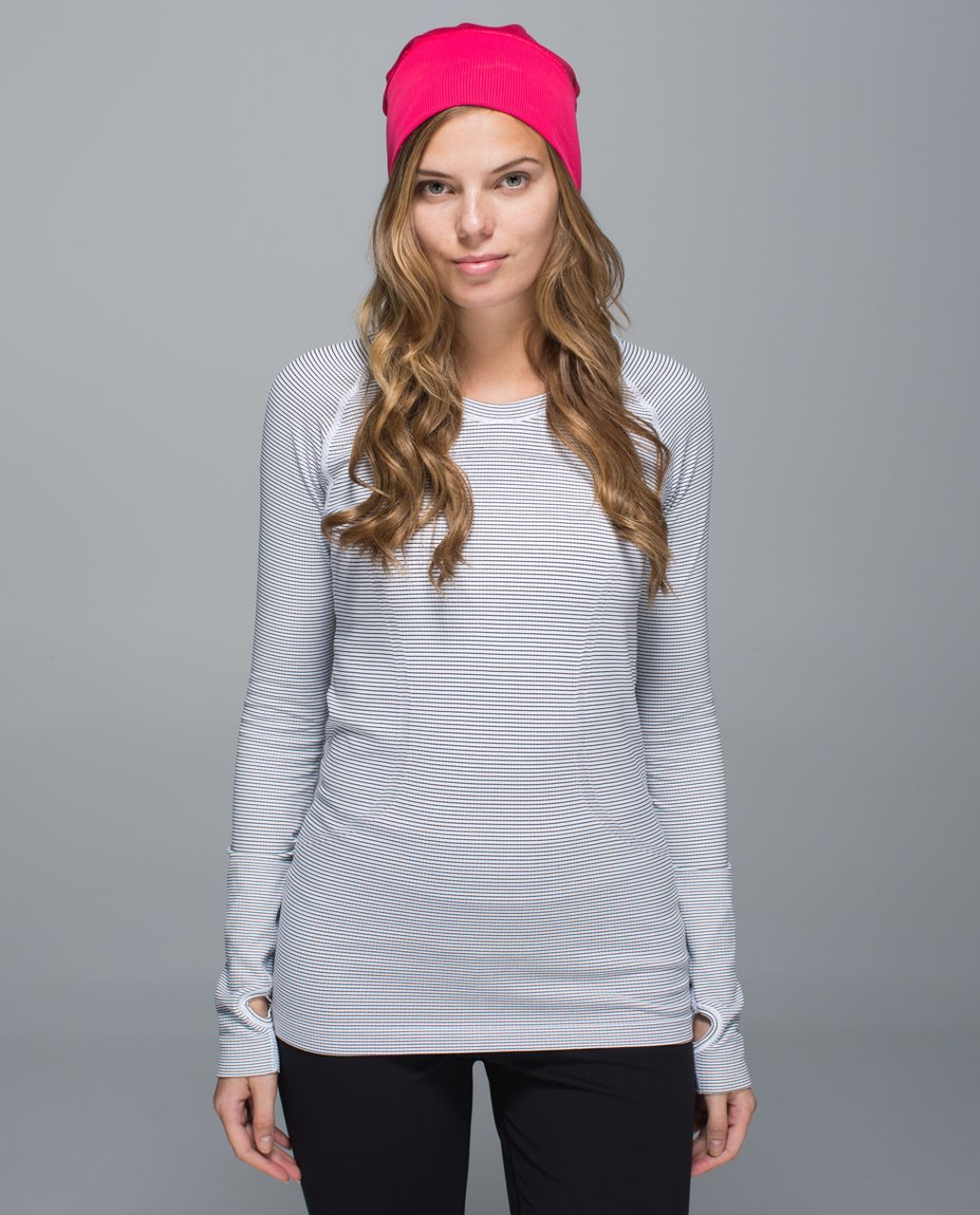 Lululemon Run With Me Toque - Deepest Cranberry / Double Trouble Stripe Boom Juice Deepest Cranberry