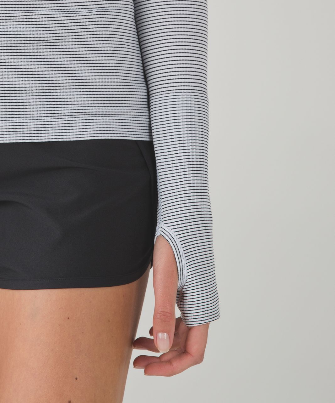 Lululemon Run:  Swiftly Tech Long Sleeve Crew - Tempo Stripe White Black