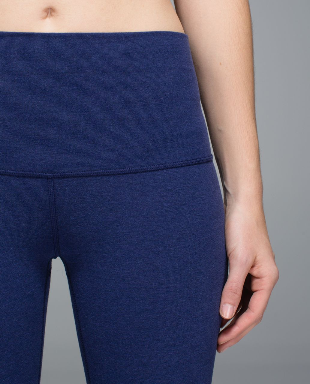 Lululemon Wunder Under Crop *Cotton (Roll Down) - Heathered Denim Majestic