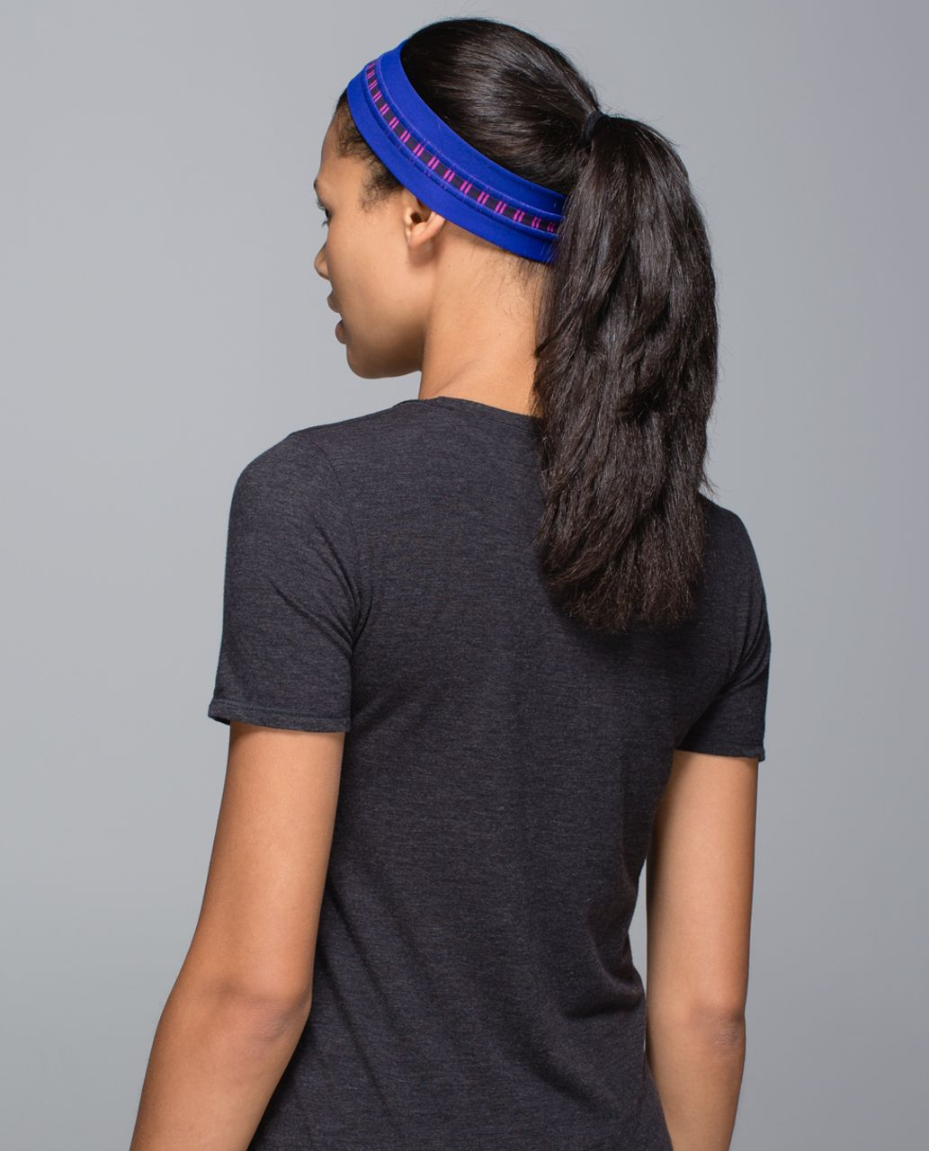 Lululemon Fly Away Tamer Headband - Pigment Blue / Double Trouble Stripe Ultra Violet Black Grape
