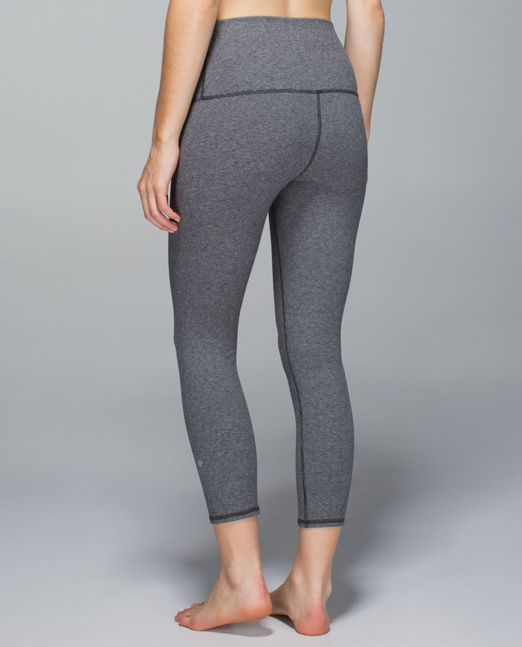 Lululemon Wunder Under Crop *Cotton (Roll Down) - Wee Stripe Heathered Medium Grey Black