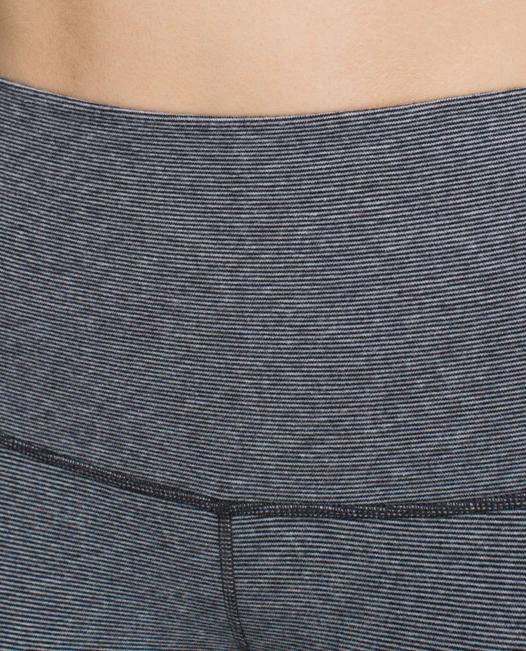 Lululemon Wunder Under Crop *Cotton (Roll Down) - Wee Stripe Heathered Medium Grey Black