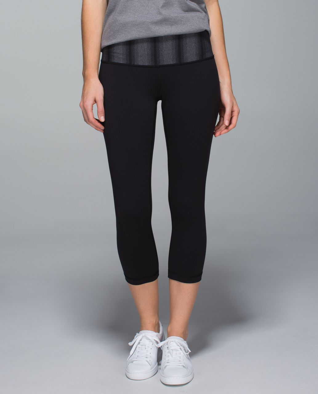 Lululemon Wunder Under Crop II *Full-On Luon (Roll Down) - Black / Capilano Stripe Heathered Deep Coal Black