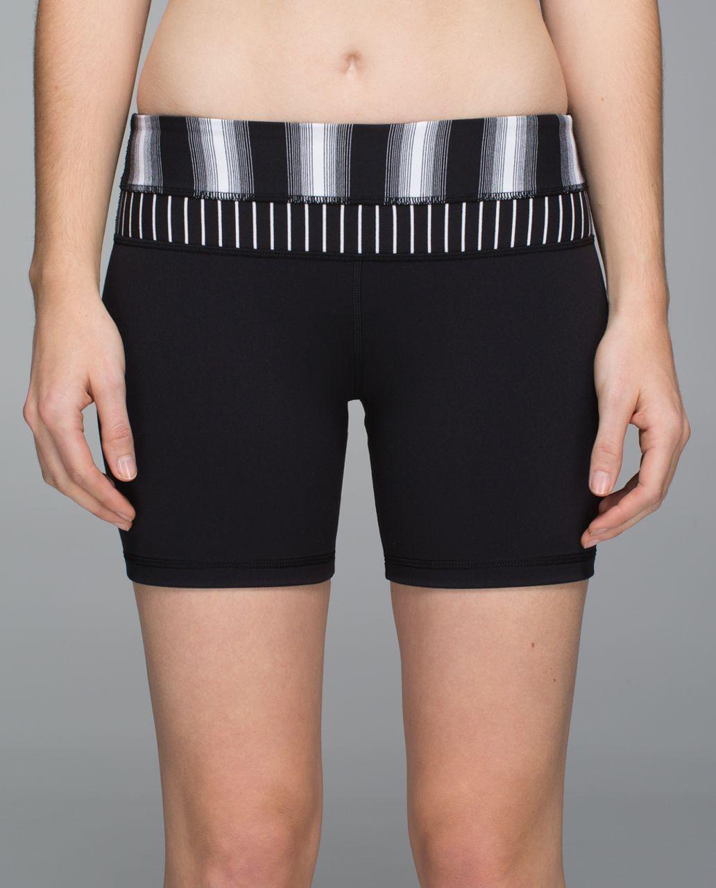 Lululemon Groove Short *Full-On Luon (Regular) - Black / Capilano Stripe Black White / Parallel Stripe Black White